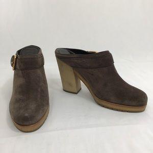 Prada Brown Suede heeled slides